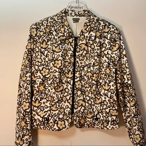 Anthracite NWOT Cream Brown Floral Jacket Size 14